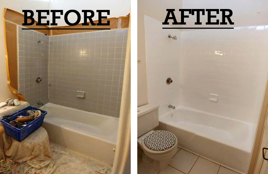 Bathtub Refinishing in Mililani Oahu (before and after work)