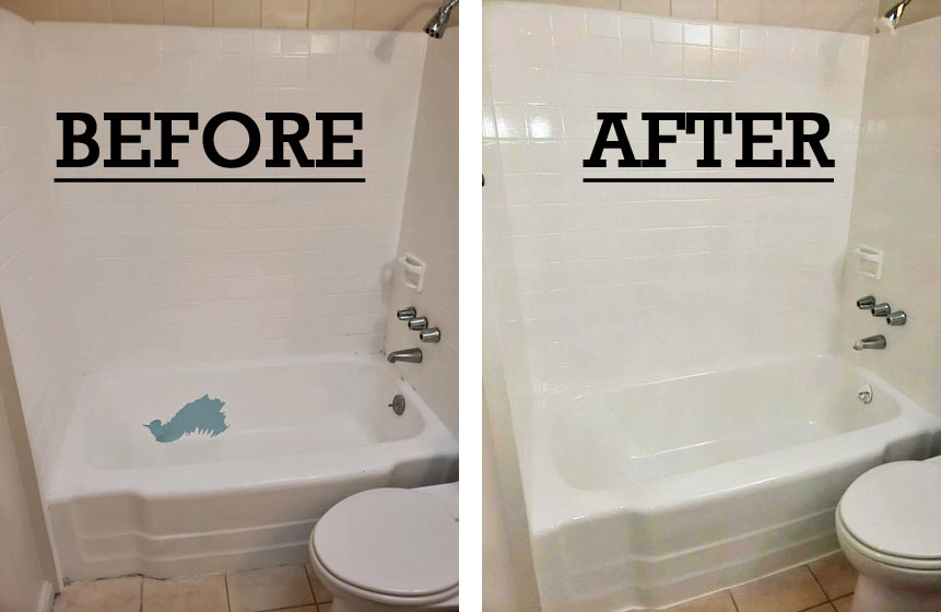 Bathtub repair and recoating in Honolulu picture shows big scratch fixed