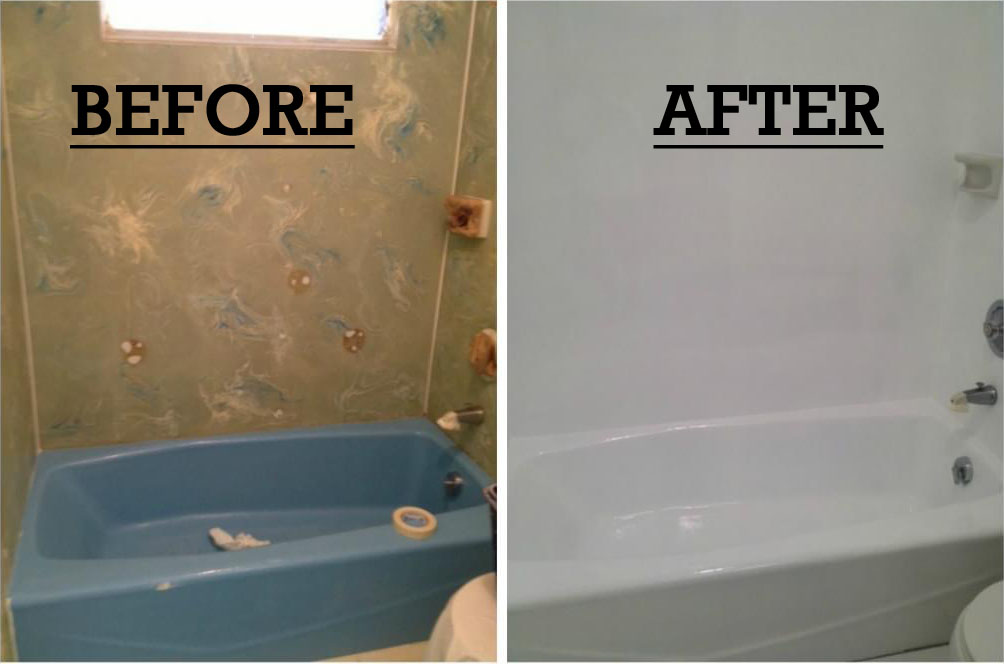 Before and After Sink and Bathtub Reglazing in Honolulu