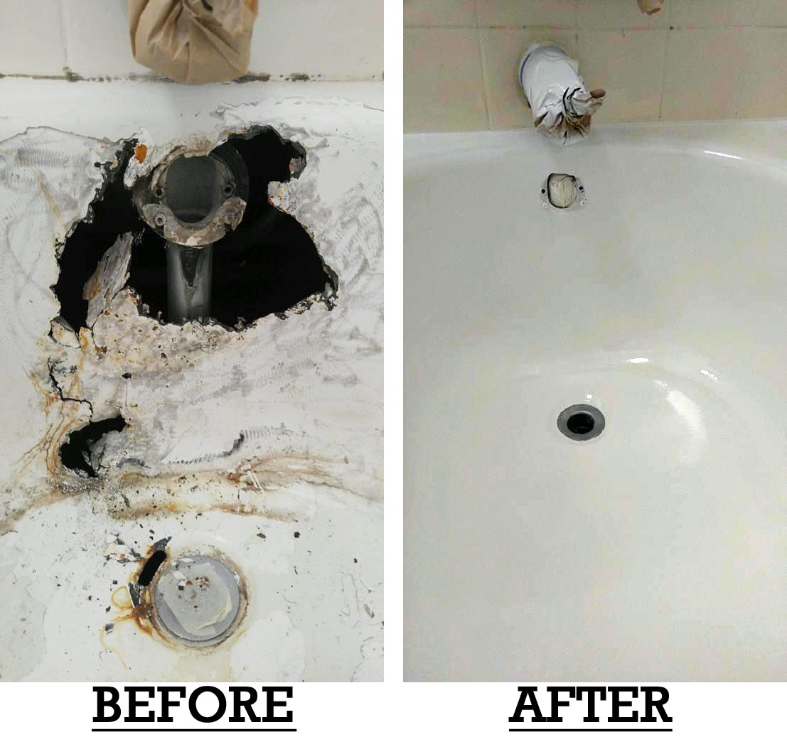 Before and after fix broken bathtub in Honolulu covered whole