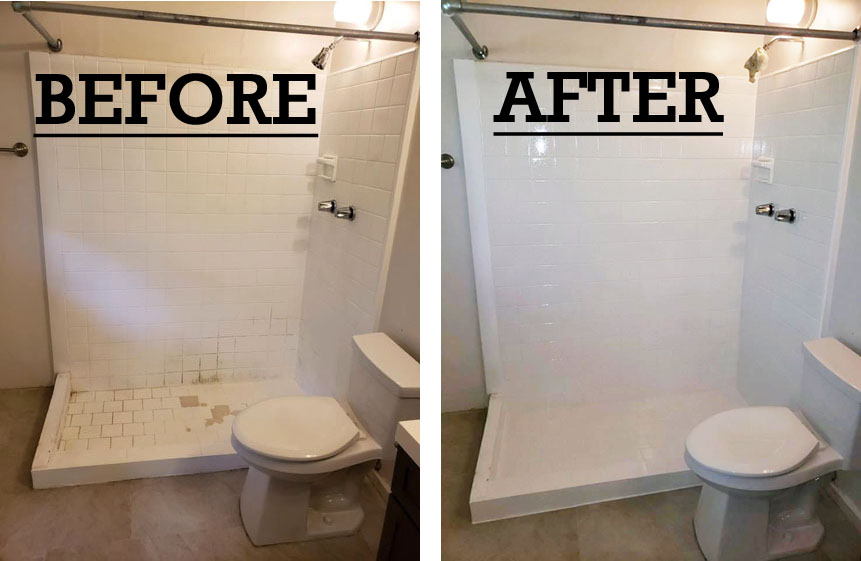 Shower and Tile Refinishing Kaneohe (before and after work pictures)
